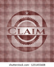 Claim red seamless emblem or badge with abstract geometric pattern background.