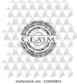 Claim retro style grey emblem with geometric cube white background