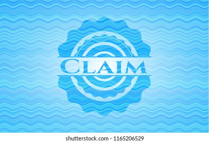Claim water concept badge.