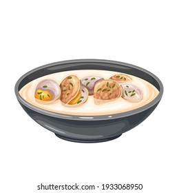 Clam chowder soup bowl vector icon. Traditional American cream soup with clams and broth.