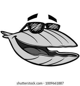 Clam with Sun glasses Illustration - A vector cartoon illustration of a Clam with Sun glasses.