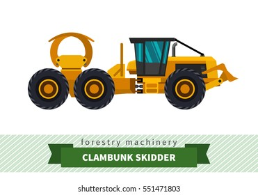 Clambunk skidder forestry vehicle vector isolated illustration
