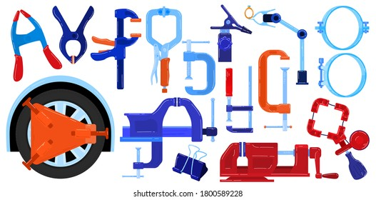 Clamp compress hand tools vector illustration set. Cartoon flat compression pressure gripping items collection for compressive metal work, worker plier, carpenter handyman clamp isolated on white