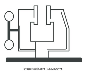 Clamp, fastener, compression device. Construction, welding and metalwork workshop equipment close up. Flat linear black and white isolated vector illustration.