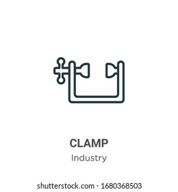 Clamp outline vector icon. Thin line black clamp icon, flat vector simple element illustration from editable industry concept isolated stroke on white background