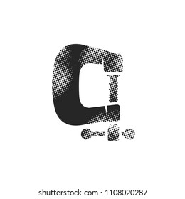 Clamp tool icon in halftone style. Black and white monochrome vector illustration.