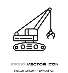 Clamshell grab excavator flat line icon vector