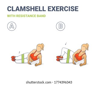 Clamshell with Resistance Band Sport exersice. Colorful Concept of Woman Doing Hip Abduction With Rubber Loop Exercise. Workout for Glutes Training and Shaped Buttocks at Home Vector Illustration