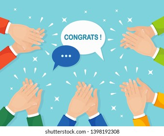 Clap of the hands isolated on background. Businessman clapping. Applause, cheer. Good opinion, positive feedback concept. Congratulate with successful deal. Vector flat design