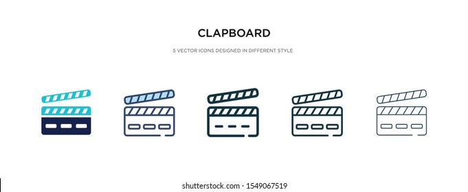 clapboard icon in different style vector illustration. two colored and black clapboard vector icons designed in filled, outline, line and stroke style can be used for web, mobile, ui