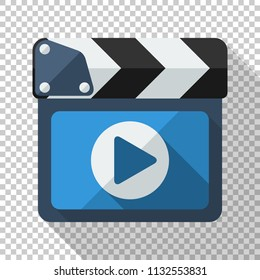Clapboard icon with play button in flat style with long shadow on transparent background