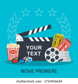 Clapboard, popcorn and tickets. Movie making and premiere concept. Flat vector cartoon illustration. Objects isolated on a white background.