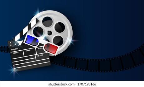 Clapper board and film reel on blue background, cinema background concept, vector illustration