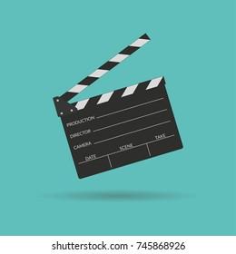 Clapper board icon in flat style. Movie, cinema, film symbol concept. Director clapboard. Film making device. Vector illustration