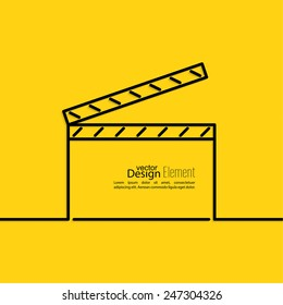 clapper board on a yellow background. symbol for film and video.