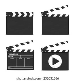 Clapper boards on white background, vector eps10 illustration