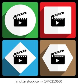 Clapper Movie icon. Vector icons, set of colorful flat design internet symbols. Eps 10 web buttons.