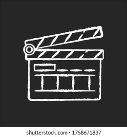 Clapperboard chalk white icon on black background. Filmmaking industry. Video and TV production. Cinematography slate board. Movie shooting. Isolated vector chalkboard illustration