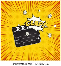 Clapperboard with Clap word speech bubble on vintage manga style background. Vector retro cinema illustration