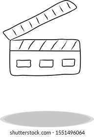 Clapperboard icon, flat design, hand drawing. Illustration filmmaking, contour of symbol black