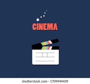 Clapperboard icon on a blue background illustration