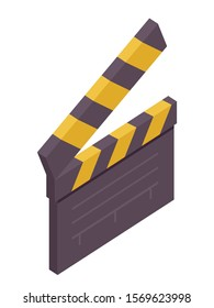 Clapperboard isometric vector illustration. Black and yellow movie slate 3d isolated clipart on white background. Cinematography and filmmaking equipment. Film clapper design element