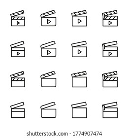 Clapperboard line icons set. Stroke vector elements for trendy design. Simple pictograms for mobile concept and web apps. Vector line icons isolated on a white background.