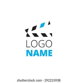 Clapperboard logo design. Vector illustration