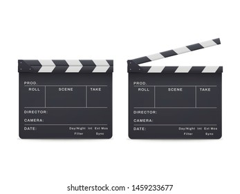 Clapperboard realistic style set, movie and cinema industry. Entertainment and filmmaking studio board. Vector open and closed clapperboard illustration