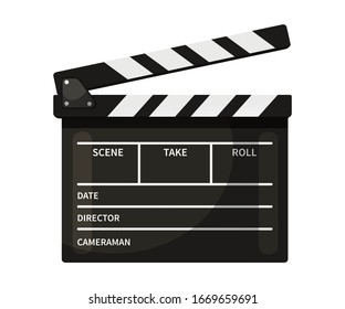 Clapperboard vector illustration. Black and white movie slate isolated clipart on white background. Cinematography and filmmaking equipment. Film clapper design element