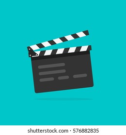Clapperboard vector illustration isolated on blue color background, flat style clapperboard icon, filmmaking device, video movie clapper equipment