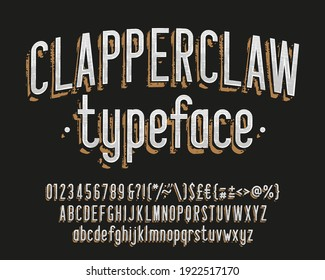 Clapperclaw alphabet font. Vintage narrow letters, numbers and symbols. Uppercase and lowercase. Stock vector typescript for your typography design.