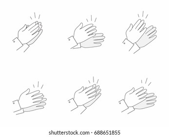 Clapping and applaud hands outlined icons set. As concept of business success. Isolated. Vector.