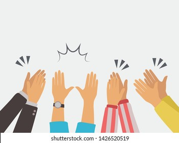clapping hands applause vector flat illustration