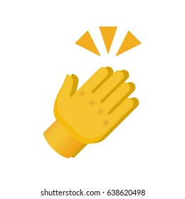 Clapping Hands with Crossed Fingers on White Background. Isolated Vector Illustration