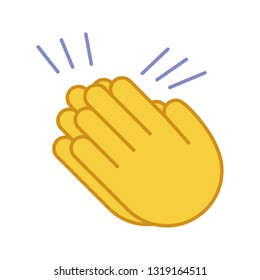 Clapping hands emoji color icon. Applause gesture. Congratulation. Isolated vector illustration