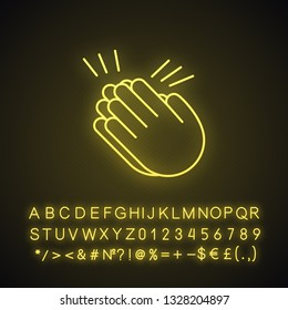 Clapping hands emoji neon light icon. Applause gesture. Congratulation. Glowing sign with alphabet, numbers and symbols. Vector isolated illustration