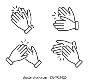 Clapping hands icon. Applause clap. Celebration hands gesture. Audience slam icon. Cheers slap sign. Celebration expression. Clapping applause symbol in outline style. People appreciation vector