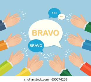 Clapping hands with speech bubble isolated on background. Applause, bravo. Congratulations, kudos, recognition concept. Vector illustration. Flat style design