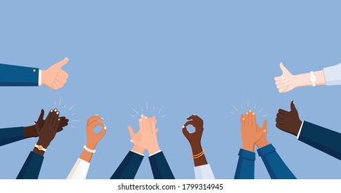 Clapping ok heart business hands applause flat frame composition with office workers human hands of colour vector illustration