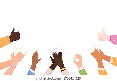 Clapping ok heart hands applause composition with flat human hand images making gestures and empty space vector illustration