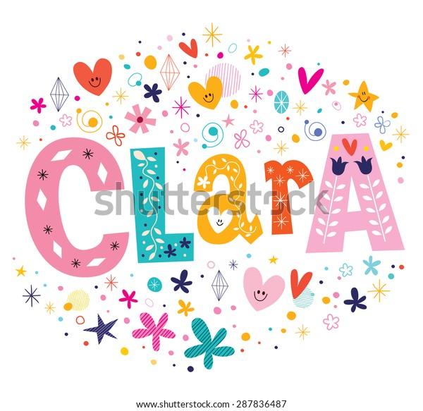 Clara Girls Name Decorative Lettering Type Stock ...