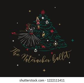Clara with a Nutcracker near the Christmas tree. Ballet poster concept. Vector illustration