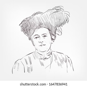 Clara Zetkin German Marxist theorist, activist, and advocate for women's rights vector sketch illustration isolated
