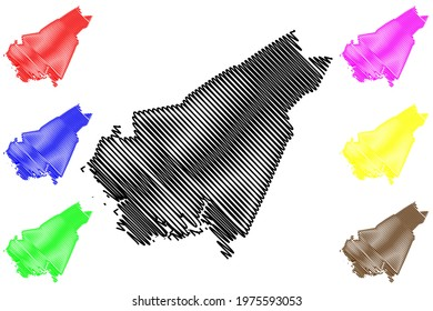 Clarendon County, State of South Carolina (U.S. county, United States of America) map vector illustration, scribble sketch Clarendon map