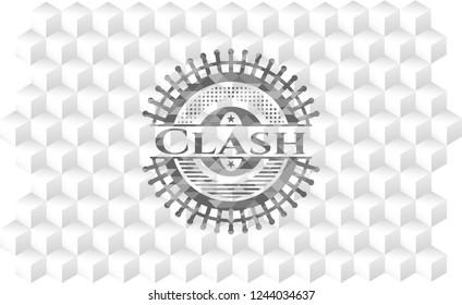 Clash retro style grey emblem with geometric cube white background