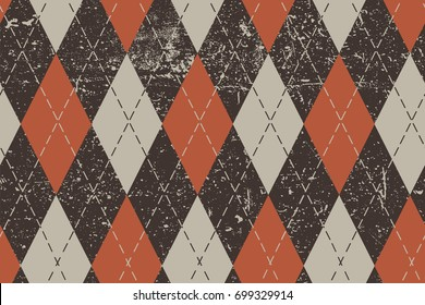 Clasic argyle aged pattern. Traditional diamond check seamless print in brown, red and ocher and grunge texture. Grunge vintage seamless background.