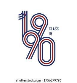 Class of 1990 logo retro vector white