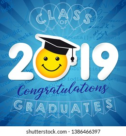 Class of 20 19 year graduates banner concept. Сolorful greeting card idea, happy holiday coloured invitation emblem. Isolated 3 D white numbers. Abstract graphic design template. Blue background.