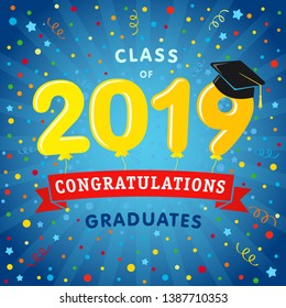 Class of 20 19 year graduates banner concept. Сolorful greeting card idea, happy holiday coloured invitation emblem. Isolated 3D yellow numbers. Abstract graphic design template. Blue background.